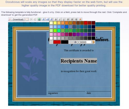 Award Certificate Example